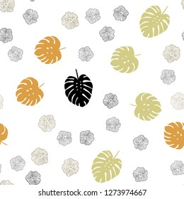 Light Green, Yellow vector seamless natural background with flowers, leaves. Colorful illustration in doodle style with leaves, flowers. Pattern for design of fabric, wallpapers.