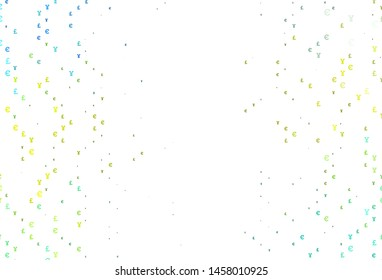 Light Green, Yellow vector template with EUR, JPY, GBP. Illustration with EUR, JPY, GBP signs on white template. The pattern can be used for ad, booklets, leaflets of banks.