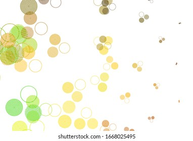Light Green, Yellow vector texture with disks. Abstract illustration with colored bubbles in nature style. Design for poster, banner of websites.