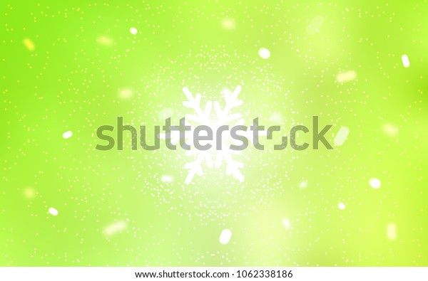 Light Green, Yellow vector texture with colored snowflakes. Snow on blurred abstract background with gradient. The template can be used as a new year background.