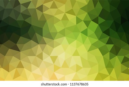 Light Green, Yellow vector triangle mosaic texture. A sample with polygonal shapes. Brand new style for your business design.
