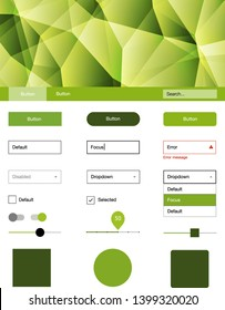 Light Green, Yellow vector ui kit in polygonal style. Colorful ui/ux kit with header consisted of triangles. Simple colorful design for websites.