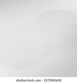 Light grey backdrop with dynamic square halftone. Wavy grey square halftone background. Abstract monochrome illustrated graphic design.