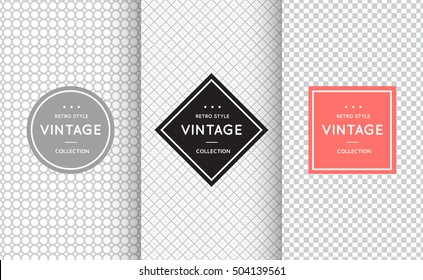 Light grey seamless pattern background. Vector illustration for elegant design. Abstract geometric frame. Stylish decorative label set. Fashion universal background.
