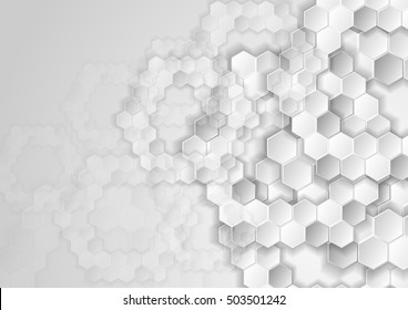 Light grey tech background with hexagons. Abstract geometric glossy vector design. Grey hexagon texture tech pattern