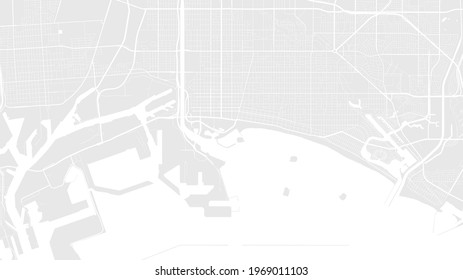 Light grey and white Long Beach city area vector background map, streets and water cartography illustration. Widescreen proportion, digital flat design streetmap.