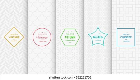 Light grey white seamless pattern background. Vector illustration for elegant design. Abstract geometric photo frame. Stylish decorative bright label set. Fashion universal pattern.