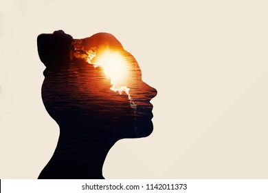 The Light Head. Power of mind concept.