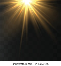 Light highlight yellow special effect with rays of light and magic sparkles. Sun Ray .