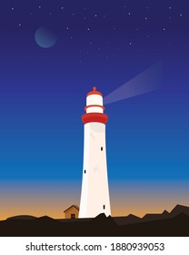 Light house with the beautiful sky and stars in the background. Lighthouse during night.