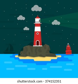 Light house on rocks at night / Flat design / Minimal island