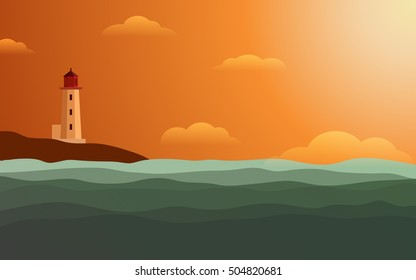 Light House on shore at Sunset with orange color of evening sky in flat icon design background (vector)
