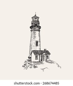 light house vector sketch