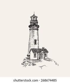 light house vector sketch