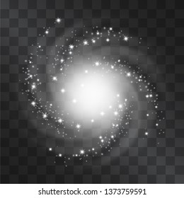 Light hurricane effect. Vector glowing tornado, swirling storm top view of shining stardust sparkles on transparent background. Glittering blizzard, ice cold magical illumination. Whirlwind flash.