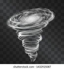 Light hurricane effect. Vector glowing tornado, swirling storm cone of shining stardust sparkles on transparent background. Glittering blizzard funnel, ice cold magical illumination. Whirlwind weather