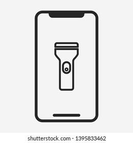 light icon isolated on smartphone screen. flashlight symbol modern simple vector icon for web site or mobile app