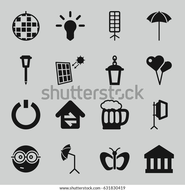 Light Icons Set Set 16 Light Stock Vector (Royalty Free