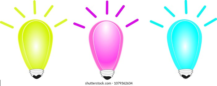 Light, idea, 3, green, pink, blue, multi color, vector cartoon, light bulb, drawing icon Business cards and pages, teaching materials, fun, lighting, hope.
