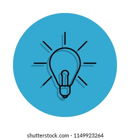 light of ideas icon. Element of school for mobile concept and web apps icon. Thin line icon with shadow in badge for website design and development, app development