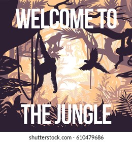 Light jungle party poster with monkeys on trees and flying parrot in rainforest vector illustration