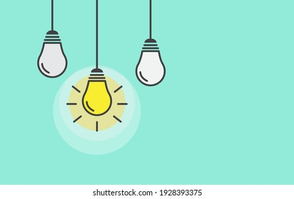 Light lamp bulb on green background. Creative idea and inspiration concept. Vector banner template.