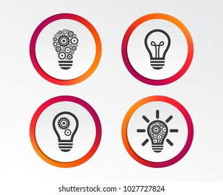 Light lamp icons. Lamp bulb with cogwheel gear symbols. Idea and success sign. Infographic design buttons. Circle templates. Vector