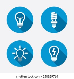 Light lamp icons. Fluorescent lamp bulb symbols. Energy saving. Idea and success sign. Circle concept web buttons. Vector