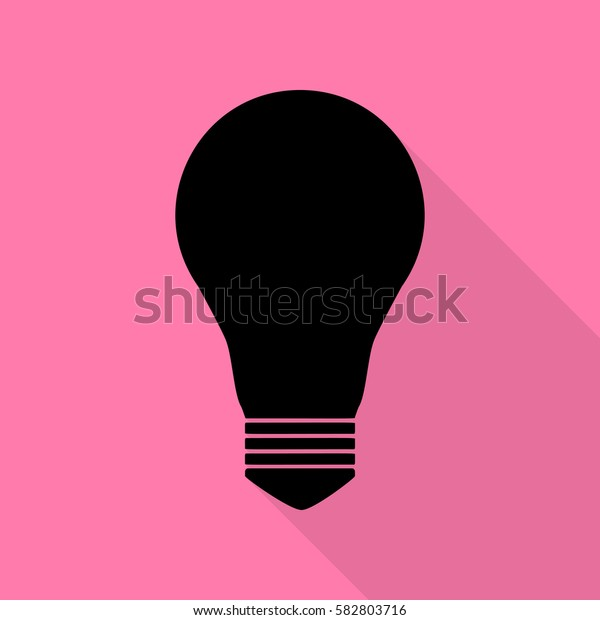 Light lamp sign. Black icon with flat style shadow path on pink background.