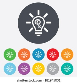 Light lamp sign icon. Bulb with gears and cogs symbol. Idea symbol. Round colourful 11 buttons. Vector