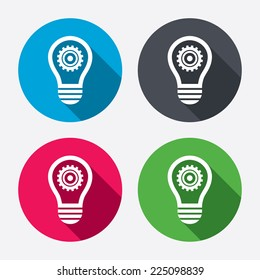 Light lamp sign icon. Bulb with gear symbol. Idea symbol. Circle buttons with long shadow. 4 icons set. Vector