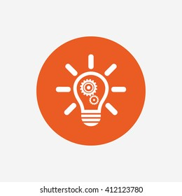 Light lamp sign icon. Bulb with gears and cogs symbol. Idea symbol. Orange circle button with icon. Vector