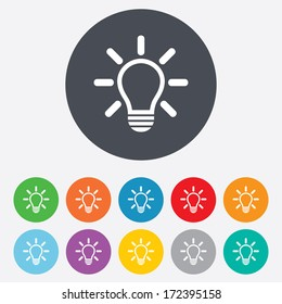 Light lamp sign icon. Idea symbol. Light is on. Round colourful 11 buttons. Vector