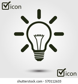 Light lamp sign icon. Idea bulb symbol. Flat design style.