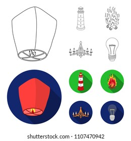 A light lantern, a lighthouse, a fire, a chandelier with candles.Light source set collection icons in outline,flat style vector symbol stock illustration web.