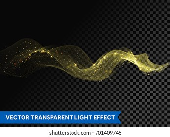 Light line gold swirl effect. Bokeh light glitter round wave line with sparkling particles. Vector glitter light mist flare trace. Magic sparkle golden smoke trail effect on transparent background