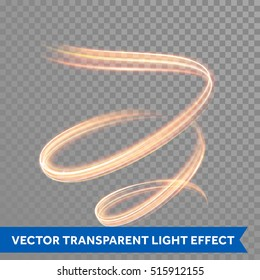 Light line trace effect. Light painting fire flare effect. Glowing fire swirl spiral. Glow luminous glitter shimmer trail. Vector abstract light speed motion effect