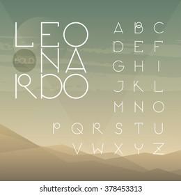Light line uppercase font. A to Z alphabet.