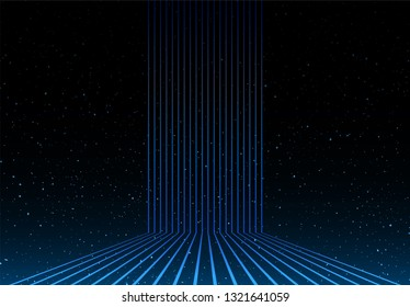 light lines and universe stars in background