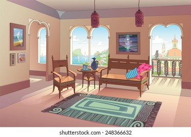 The light living room decorated in oriental style with a beautiful sea view and the beautiful eastern city perspective. The vector EPS v.10 is layered for your convenience. Enjoy!