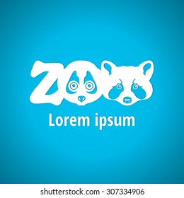 Light logo for the zoo. Silhouette muzzle animals, face animals. Zoo, font, lettering. Corporate styles vector logo design