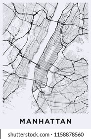 Light Manhattan (New York) map. Road map of Manhattan (NYC). Black and white (light) illustration of Manhattan's streets. Transport network of Manhattan. Printable poster format (portrait).