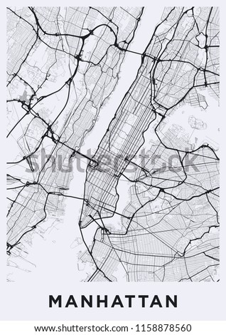 Road Map Of Manhattan.Light Manhattan New York Map Road Stock Vector Royalty Free
