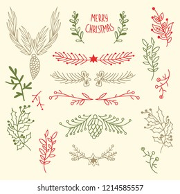 Light Merry Christmas floral background with natural tree branches and cones in hand drawn style vector illustration