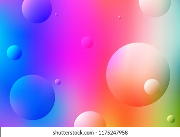 Light Multicolor, Rainbow vector background with bubbles. Illustration with set of shining colorful abstract circles. The pattern can be used for beautiful websites.
