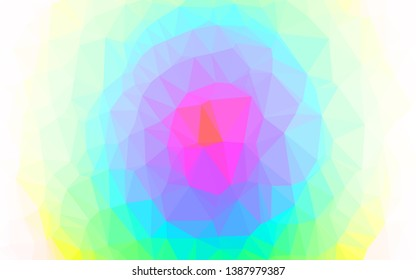 Light Multicolor, Rainbow vector blurry triangle template. Colorful illustration in Origami style with gradient. Brand new style for your business design.