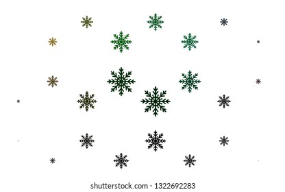 Light Multicolor, Rainbow vector cover with beautiful snowflakes. Snow on blurred abstract background with gradient. The pattern can be used for year new  websites.