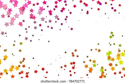 Light Multicolor, Rainbow vector cover with small and big stars. Glitter abstract illustration with colored stars. Best design for your ad, poster, banner.