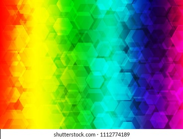 Light Multicolor, Rainbow vector hexagon mosaic background. Shining colored illustration in a Brand new style. The elegant pattern can be used as part of a brand book.