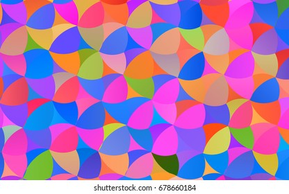 Light Multicolor, Rainbow vector pattern with colored spheres. Geometric sample of repeating circles on white background in halftone style.